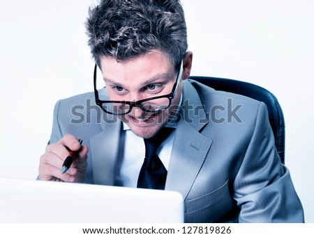 stressed manager at work - stock photo
