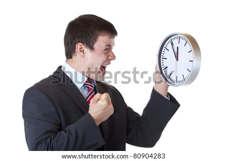 Stressed manager under time pressure clenches his fist and shouts.Isolated on white background - stock photo