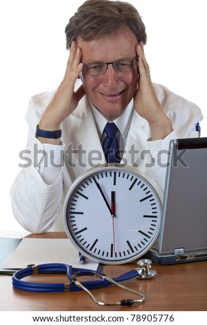 Stressed medical with clock in front holds his head because of time pressure. Isolated on white background. - stock photo