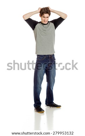 Stressed model pulling hairs - stock photo