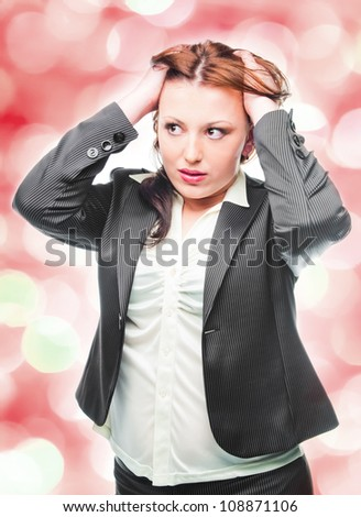 stressed modern business woman - stock photo