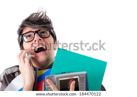 Stressed office worker on a phone, isolated on white - stock photo