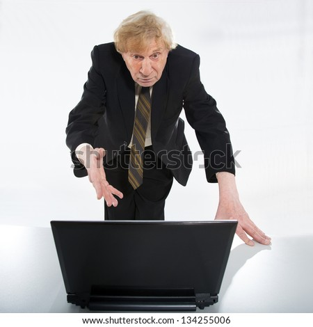 Stressed old business man white background