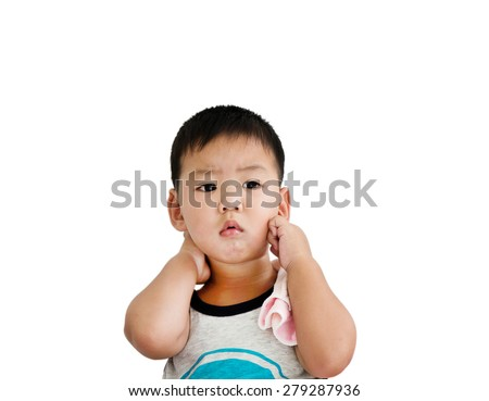 stressed one Asian boy aged two years isolated on a white background with clipping path - stock photo