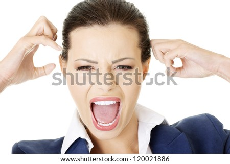 Stressed or angry businesswoman screaming loud , isolated on white - stock photo