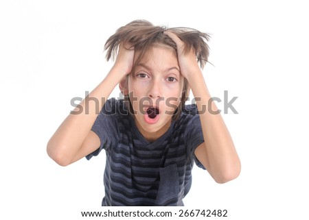 stressed out boy on a white background - stock photo