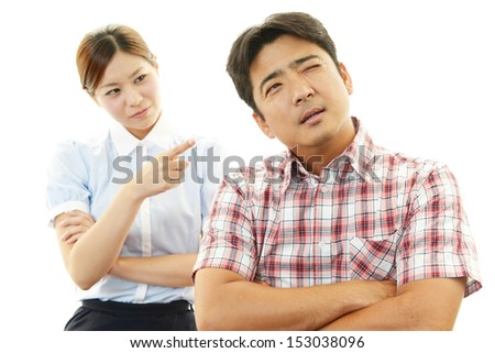 Stressed woman and man