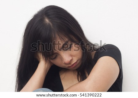 Stressed Woman with Headache on white background