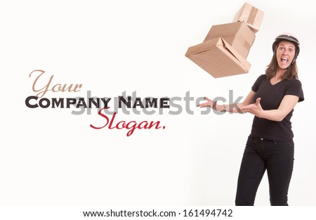 Stressed woman with helmet trying to catch flying parcels