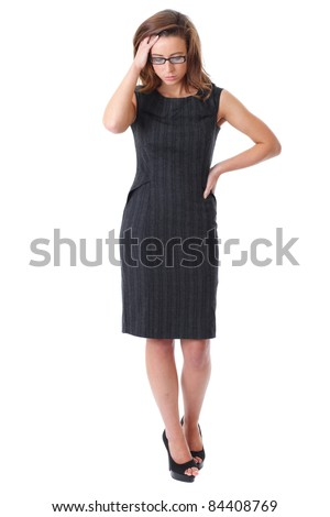 Stressed young attractive businesswoman isolated on white - stock photo