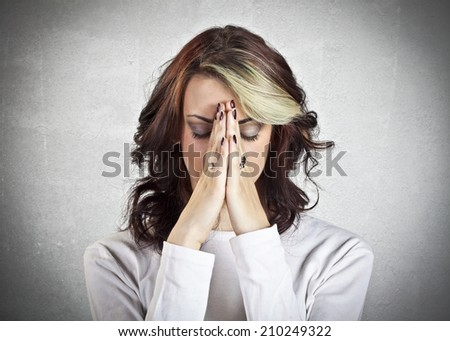 Stressed young girl - stock photo