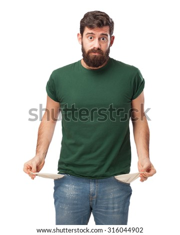 stressed young man poor gesture - stock photo