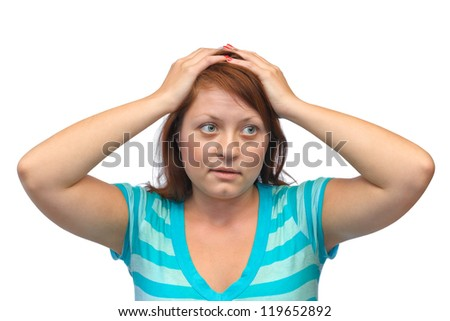 Stressed young woman isolated on white background - stock photo