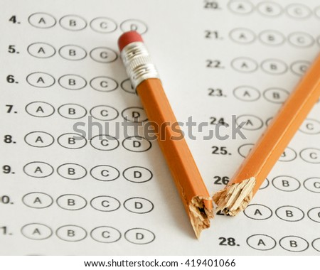 stressful assessment tests - stock photo