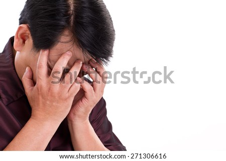 stressful man making face palm gesture - stock photo