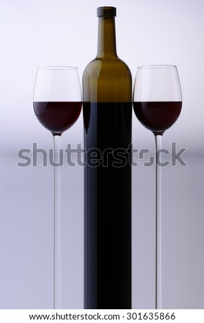 Stretched bottle and two glass goblets with red grape wine standing close to each other in studio isolated on white and grey backgroung, vertical picture - stock photo