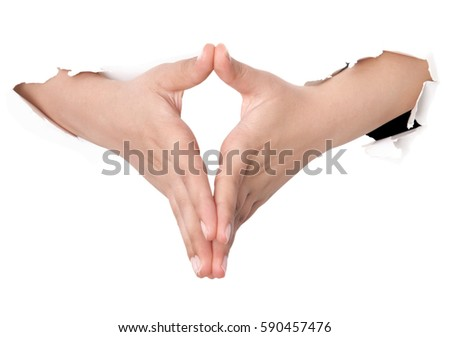 Stretched hand of woman isolated over white background. Open palm hand gesture of woman hand. Close up of open palm isolated over white background.