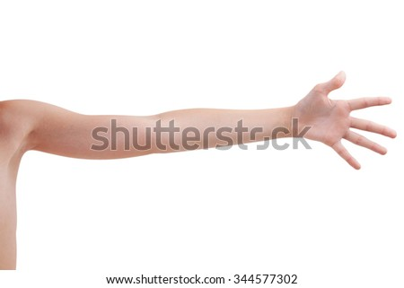 Stretched human hand on a white background