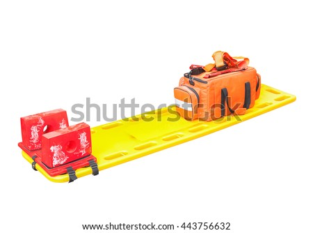 stretcher for emergency paramedic service medical equipment and clipping path isolated on a white background - stock photo