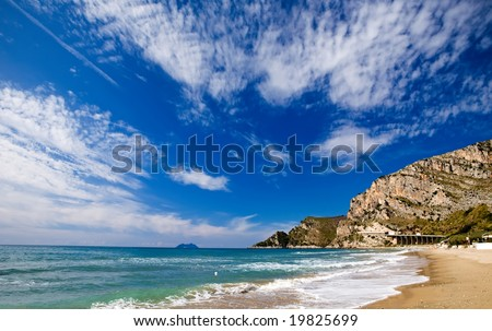 Stretches of sandy beach along the coast between Gaeta and Terracina, Lazio, Italy - stock photo