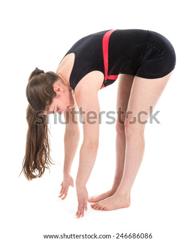 Stretching fitness woman touching the floor with her fingers, isolated on white
