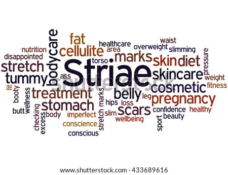 Striae, word cloud concept on white background.