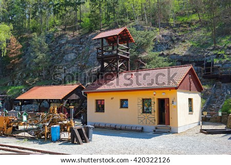 STRIBRO, CZECH REPUBLIC - MAY 7, 2016: Outdoor mining museum exposition of mining equipment in Stribro (Silver), Czech republic, European union. - stock photo