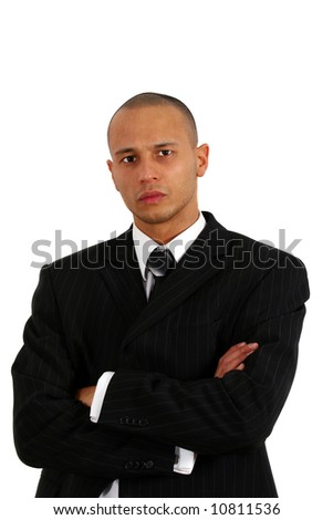 Strict Businessman Young man in stylish business fashion - over white background. - stock photo