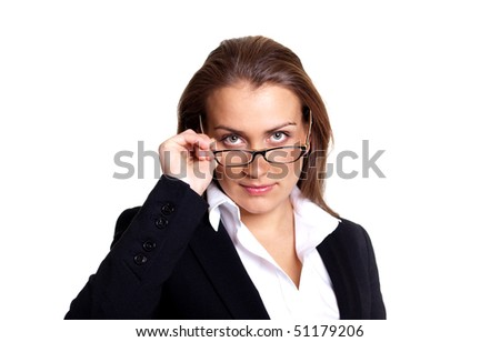 Strict businesswoman with glasses, isolated on white