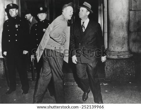 Striker from United Financial Employees AFL, heckling a businessman who crossed a picket line. The first and only strike against the New York Stock Exchange and Curb Exchange began on March 29, 1948. - stock photo