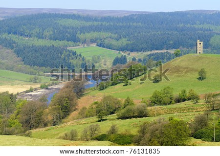 Strines Reservoir in Peak District National Park Derbyshire England - stock photo