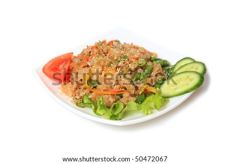 String bean with rice.East,Asian food. - stock photo
