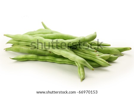 string beans on white background - stock photo
