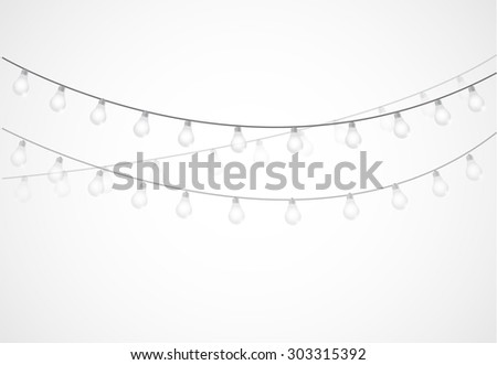 String of Lights. hanging light bulbs isolated over white - stock photo