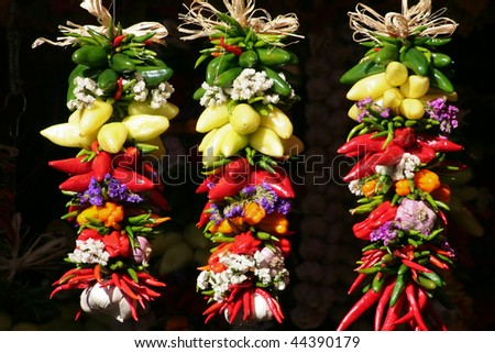 strings of peppers - stock photo