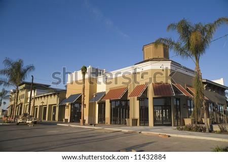 Strip Mall Under Construction - stock photo