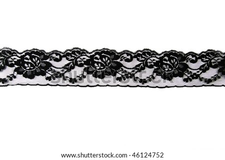 strip of black lace isolated on a white background
