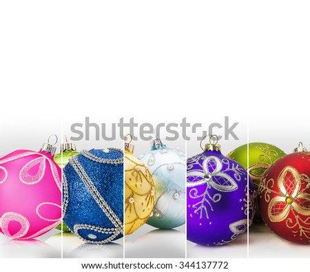 stripe collection with Christmas balls on the white background - stock photo