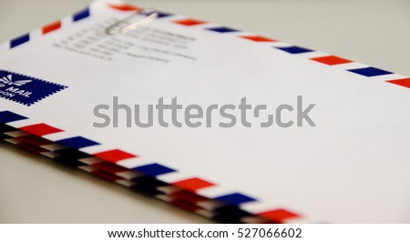 Stripe Mailing Envelope with no text with depth of field Selective Focus