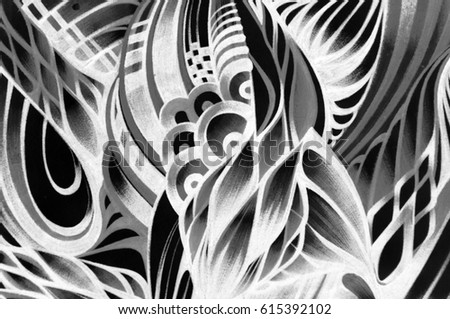 Striped abstract pattern with waves, hand-drawn ballpoint pens. Engineering graphics, ethnic, bohemian style, Art Nouveau. It reminds feathers. It can be used as a design for textiles and tattoos