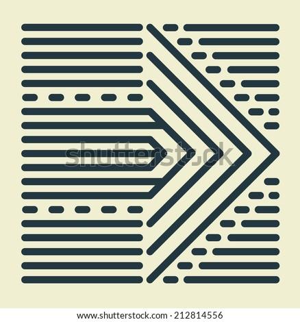 Striped Arrow - stock photo