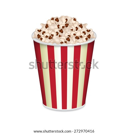 Striped bag of popcorn isolated on white