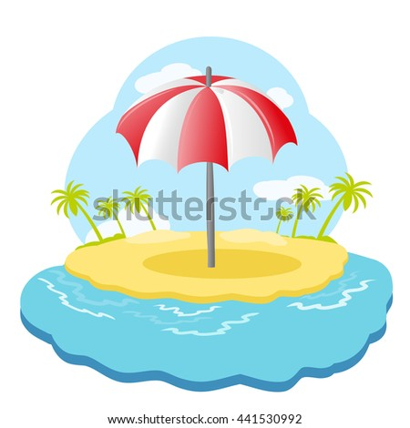 Striped beach umbrella on sandy island with palm trees in sea. Raster illustration