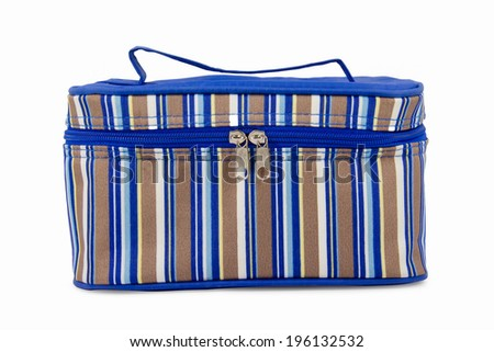 Striped Blue Hand Bag Isolated on White Background