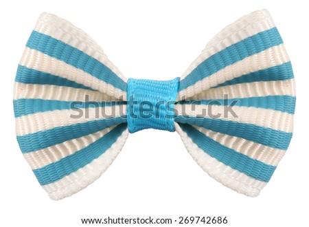 Striped bow tie white blue stripes - stock photo