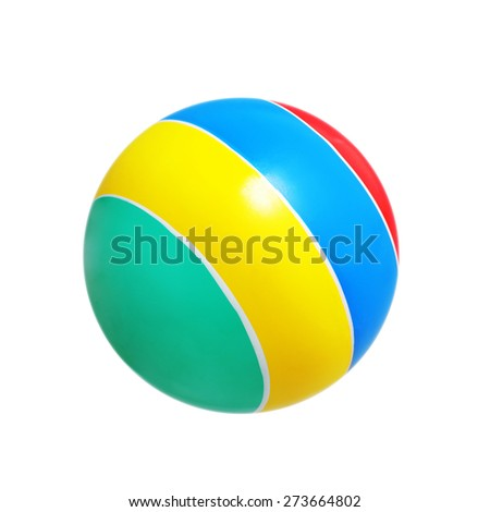 striped bright ball isolated on white background - stock photo