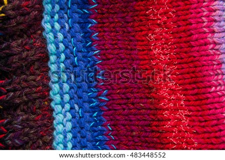 striped colorful wool texture handmade patten closeup macro blue red pink white  purple