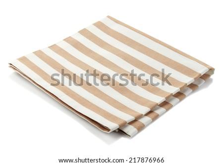 Striped cotton napkin isolated on white background - stock photo