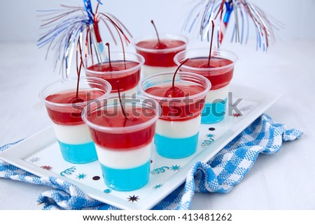 Striped firecracker jello shots for 4th july - stock photo