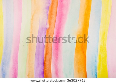 Striped hand drawn watercolor background. Vector version. Bright colors. Watercolor composition for scrapbook elements or print. - stock photo